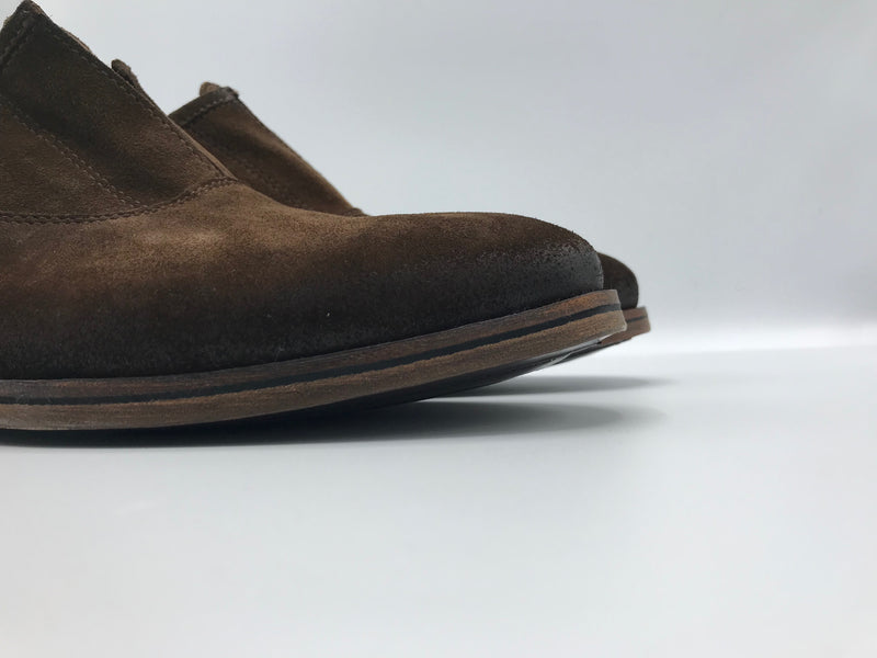 Faux Lace Up Slip On in Chocolate Suede