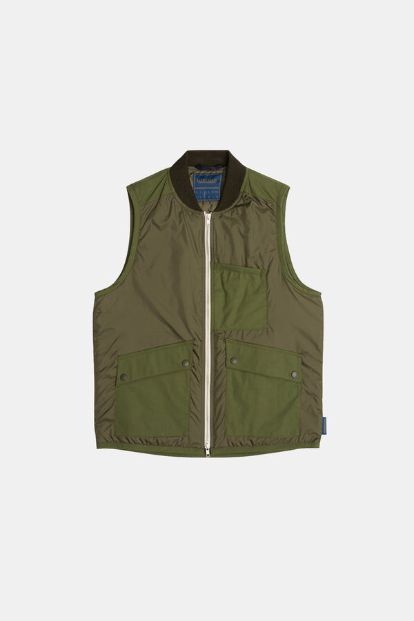 Lavenham Mixed Fabric Bomber Gilet In Olive