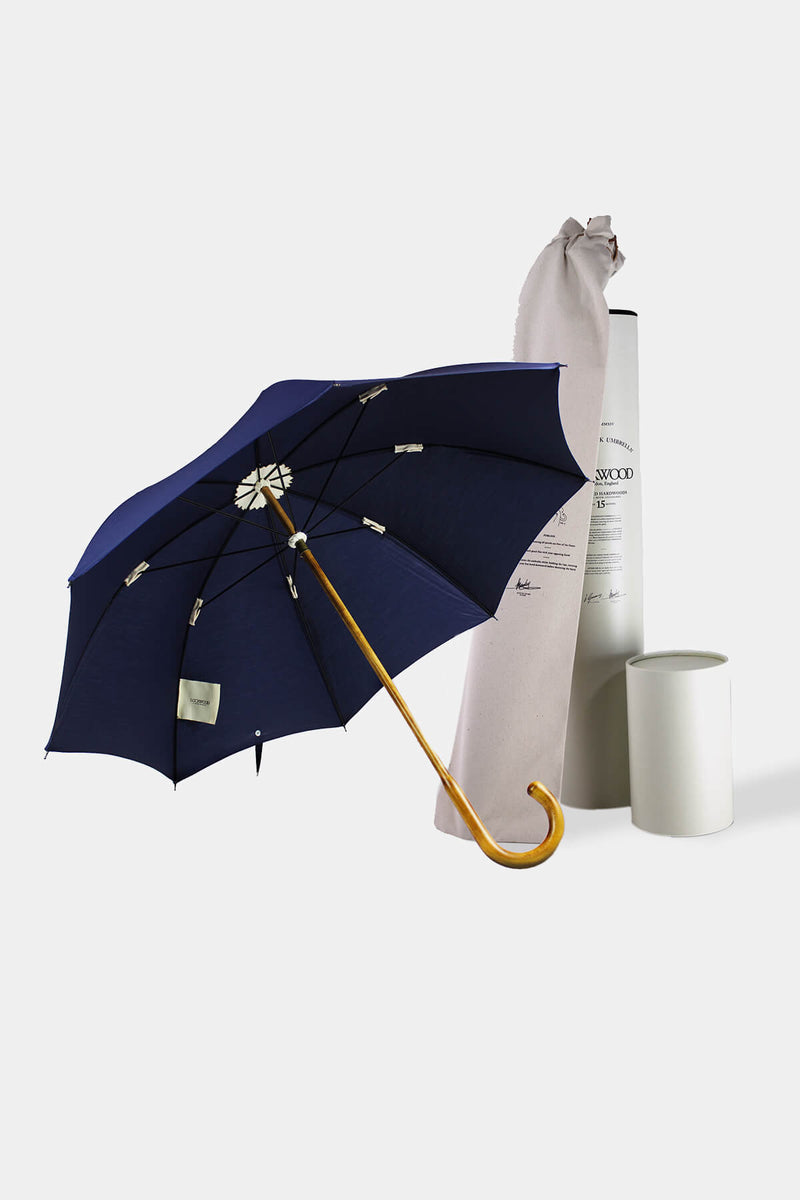 Maple Wood Umbrella w/ Navy Cotton Canopy