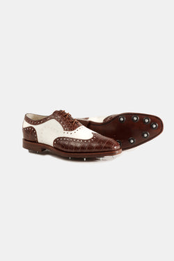 Crocodile and Suede Golf Shoe