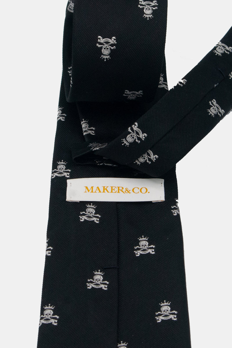 Maker & Co. Skull and Crossbone Silk Tie