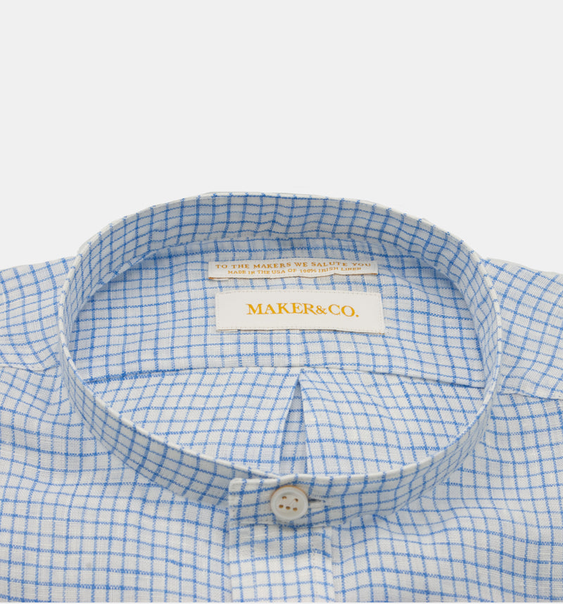 Maker & Co. Pop Over Irish Linen Band Collar Shirt in a Blue Box Check
