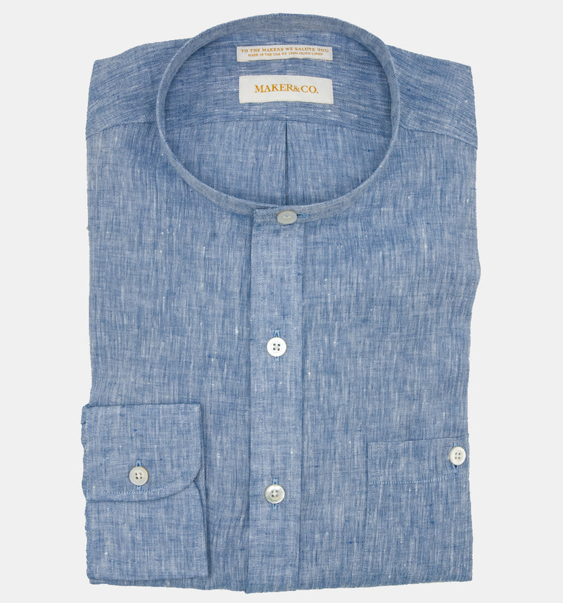 Maker & Co. Pop Over Irish Linen Band Collar Shirt in Chambray Linen