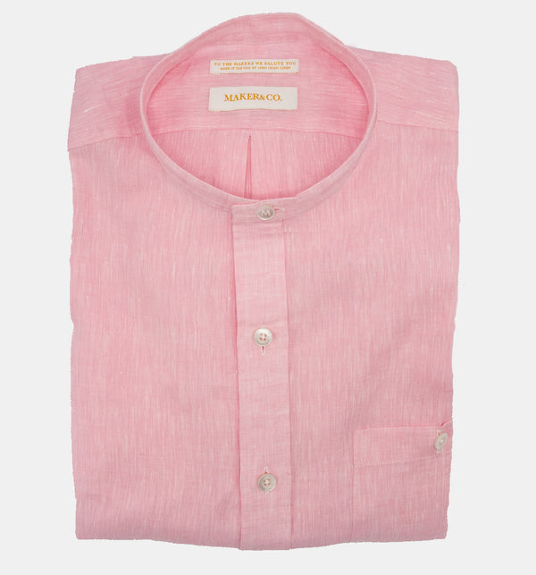 Maker & Co. Pop Over Irish Linen Band Collar Shirt in Pink