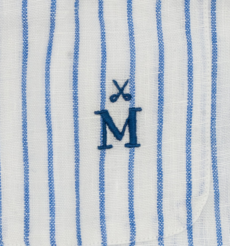 Maker & Co. Pop Over Irish Linen Band Collar Shirt in a Blue Stripe