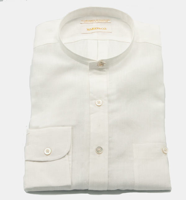 Maker & Co. Pop Over Irish Linen Band Collar Shirt in White