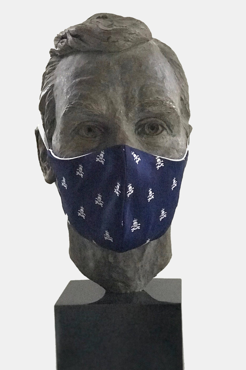 Navy Skull & Bones Mask with Microfiber Cotton Lining