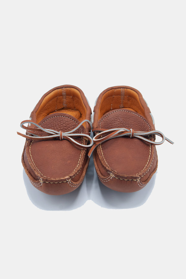 Buffalo Hide Deer Skin Lined Triple Sole Moccasin in Caramel
