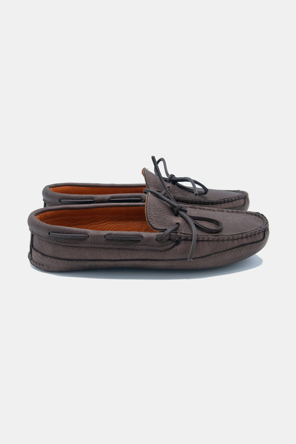 Buffalo Hide Deer Skin Lined Triple Sole Moccasin in Chocolate