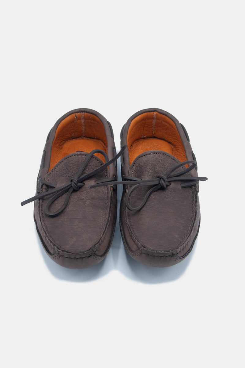 Buffalo Hide Soft Sole Moccasin in Chocolate