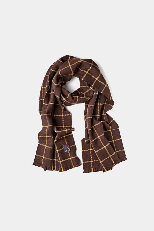 Chocolate Fox Wool/Cashmere Windowpane Scarf