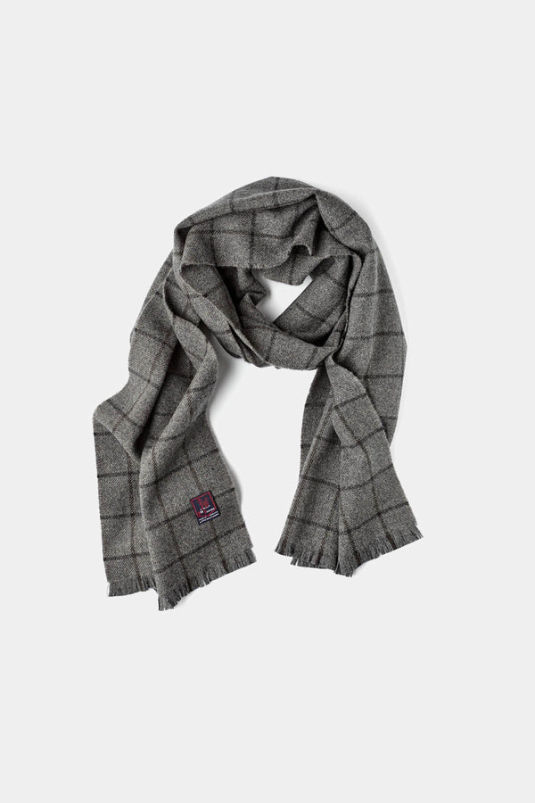 Mid-Grey Navy Windowpane Scarf