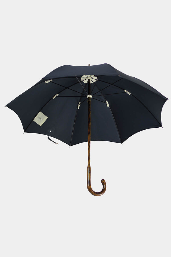 Oak Wood Umbrella with Black Cotton Canopy