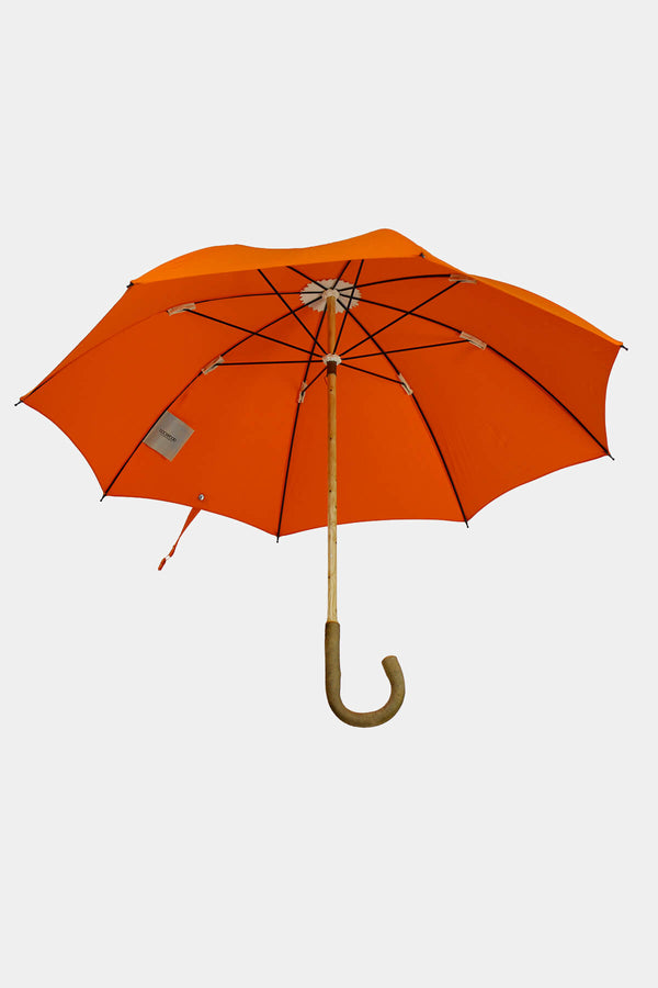 Solid Ash Wood Umbrella w/ Orange Cotton Canopy