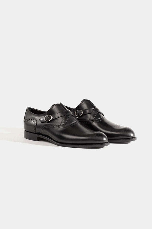 Barker Black Motto Monk Strap Shoe