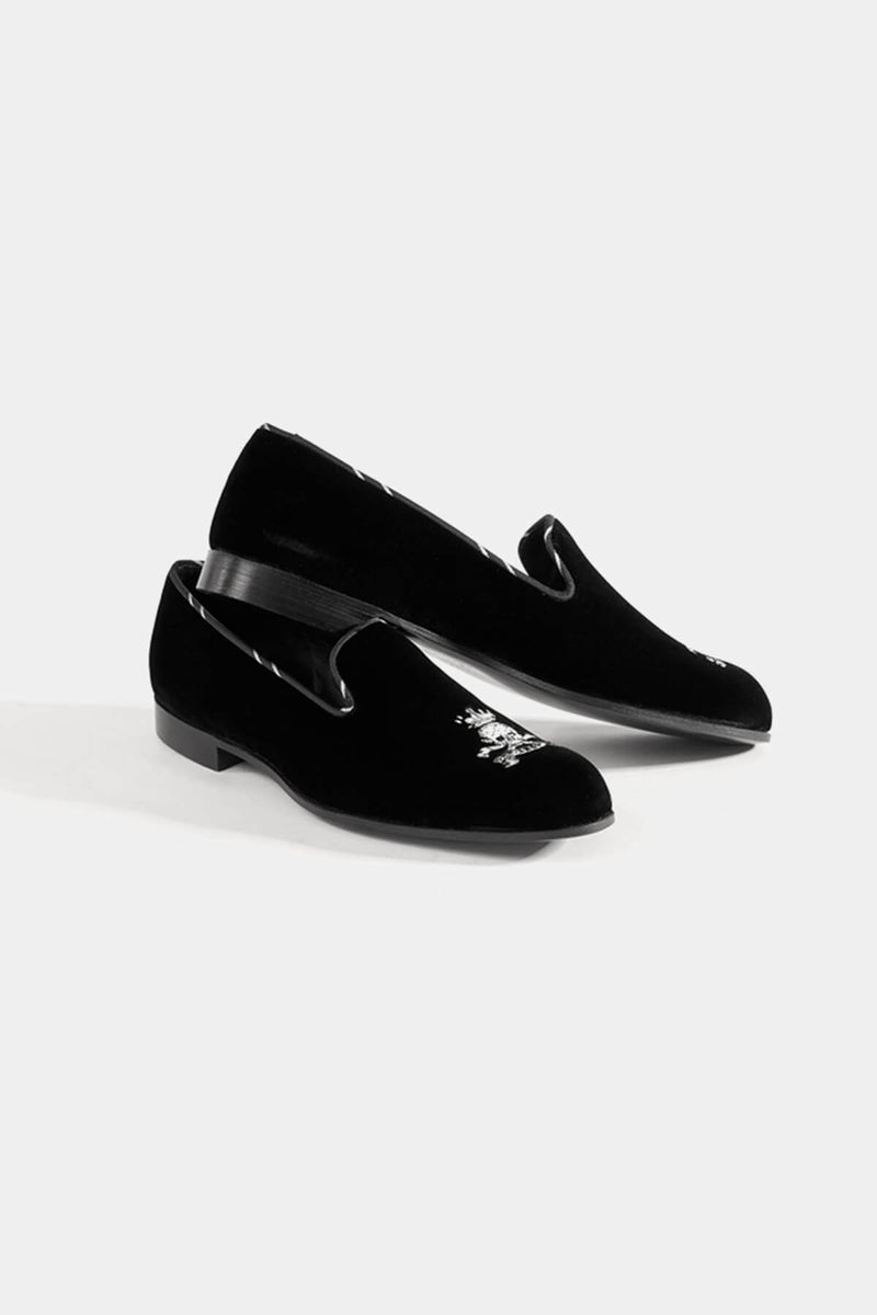 Skull and Bone Bullion Velvet Slipper