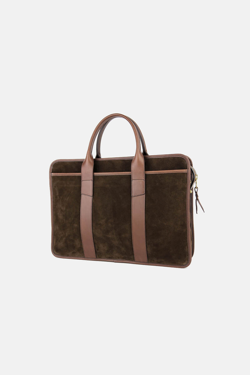 Suede Bound Edge Zip-Top Briefcase