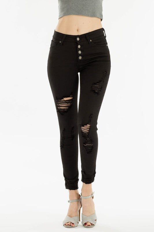 Button Fly Distressed Black Jeans