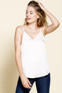It's A Date Matte Satin Cami - White