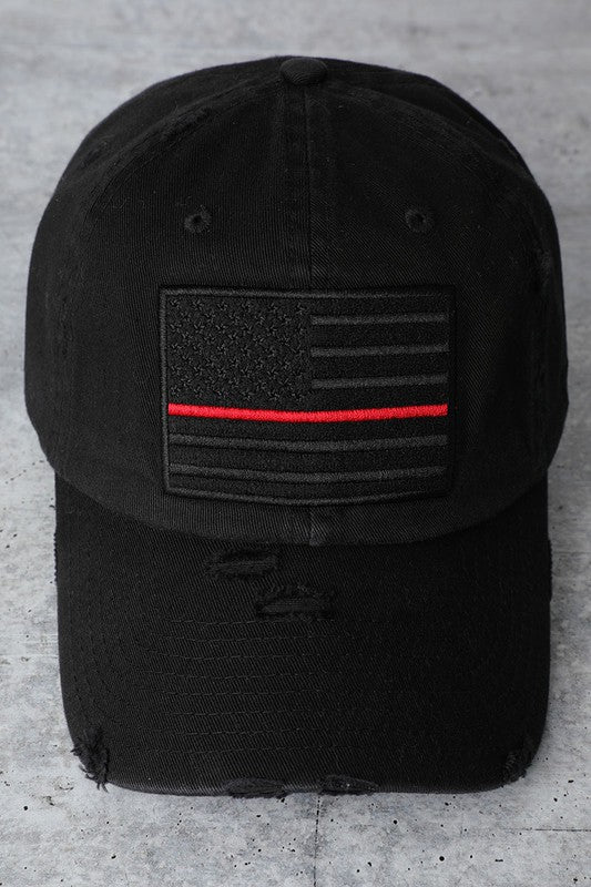 USA Flag Baseball Hat - Red Line
