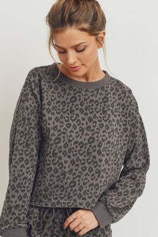 Bound To Happen Top - Charcoal Leopard