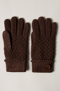 Knit Faux Fur Lined Gloves - Brown