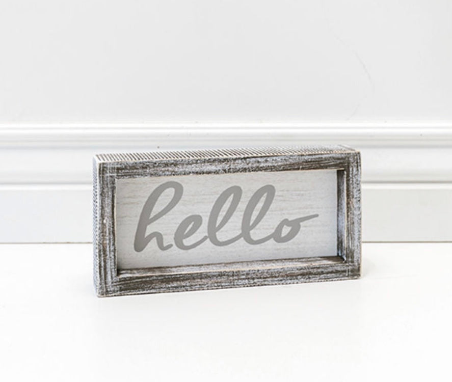 Hello Distressed Framed Sign