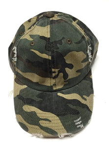 Distressed Camo Hat - Olive