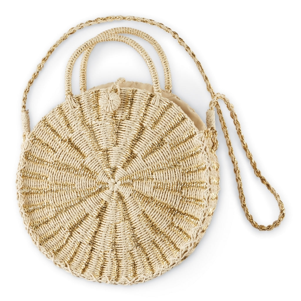 Metallic Straw Circle Tote