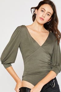 Balloon Sleeve Body Suit- Olive