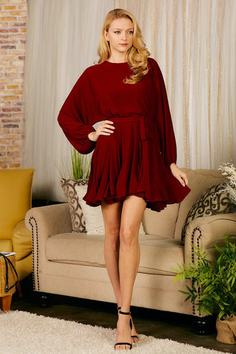 It's All In the Ruffles Dress- Burgundy