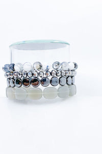 Precious Stone Stretch Bracelet - Grey