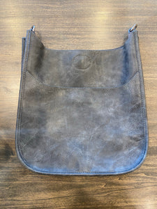 Ahdorned Vegan Distressed Leather Messenger Bag - Grey