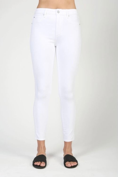 Heather High Rise Cropped Jeans- White