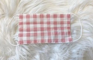 Kids Pleated Mask - Pink Gingham