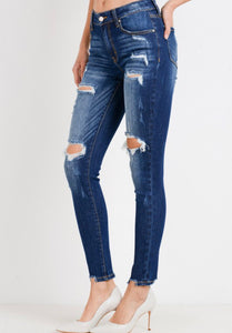 Ces't Toi Distressed Ankle Skinnies - Parker Wash