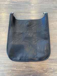Ahdorned Vegan Distressed Leather Messenger Bag - Black