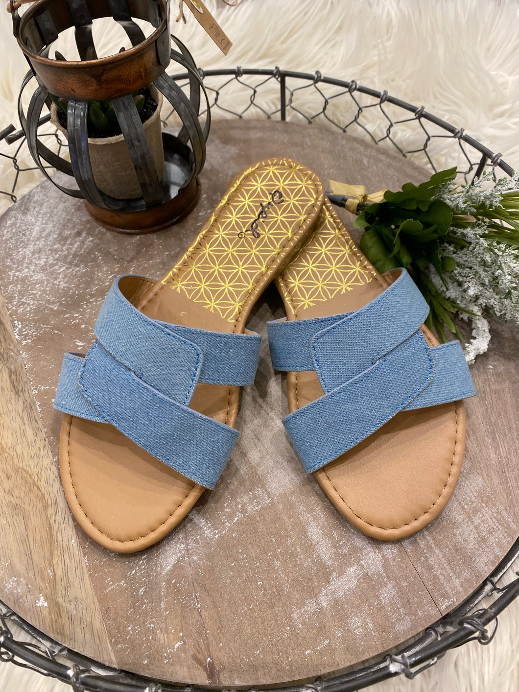 Double Strap Blue Denim Slide
