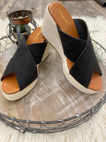 Adisa Black Suede Wedge