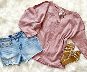 Simply Effortless Top- Mauve