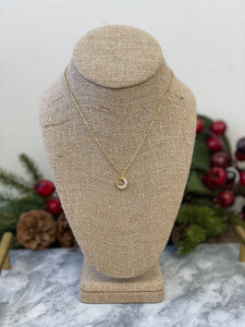 Petite Micro Pave Moon Necklace