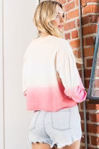 Love Cropped Top- Pink/Ivory Ombre
