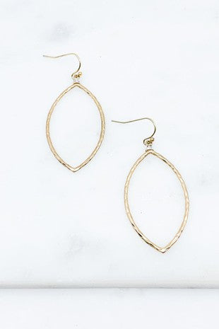 Oblong Wire Wrapped Earrings- Worn Gold