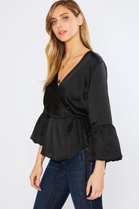 Fall In Love With Satin Top- Black