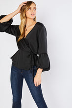 Load image into Gallery viewer, Fall In Love With Satin Top- Black