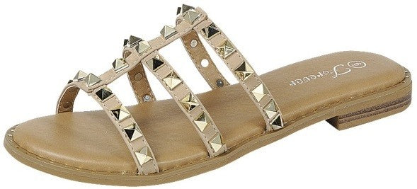 Simply Studded Sandals-Taupe