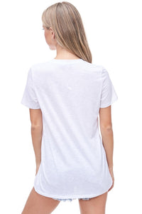 Back To the Basics Short Sleeve Top- White