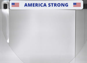 "Protective Face Shield with affixed label ""AMERICA STRONG"" headband FS-104"