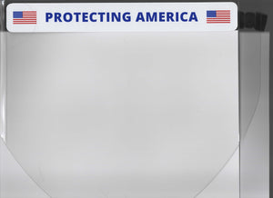 "Protective Face Shield with affixed label ""PROTECTING AMERICA"" headband FS-102"
