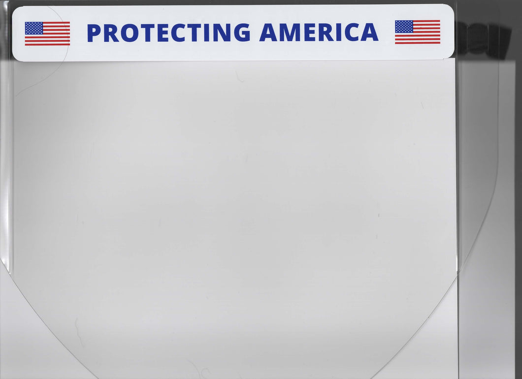 Protective Face Shield with affixed label